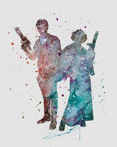 Han Solo / Princess Leia Star Wars Watercolor Art