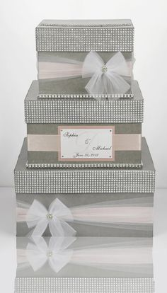 Card box / Wedding Box / Wedding money box 3 tier by DiamondDecor Diy Card Box, Gift Card Boxes, Trendy Wedding, Diy Wedding, Wedding Gifts, Blue Wedding, Wedding Ideas, Money Box Wedding, Card Box Wedding