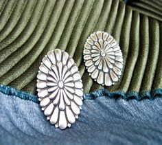 Large 1950s Navajo Native American Concho Earrings, Sterling Silver Set As Post Earrings, Southwestern USA.   by TampicoJewelry, $49.00