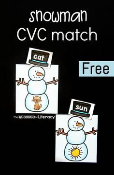 This printable snowman CVC word match is a great hands on literacy center for working on CVC words with your early readers this winter!