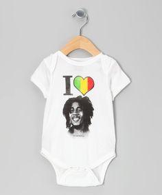 Zion Roots Wear White Bob Marley Bodysuit - Infant