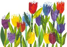 Recreate for spring art. Tulips from Draw Me a Star by Eric Carle Eric Carle, Canvas Art Prints, Canvas Wall Art, Framed Prints, Photography Beach, Tulip Painting, Ecole Art, Art Club, Prismacolor