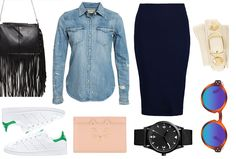 Today it's time for a blue pencil skirt! Finish your look with a denim blouse and some very handsome sneakers! Check the items on MonStyle. | Fashion | Shopping | Stan Smith | Fringe bag | Outfit inspiration |