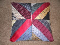 Bereavement Pillow Silk Neckties. Made with my Dad's neckties as a comfort for my Mom. Backside with zipper.  Debbie Lange Quilting