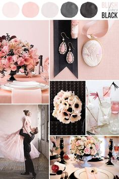 blush and black wedding color ideas / http://www.himisspuff.com/blush-and-black-wedding-ideas/