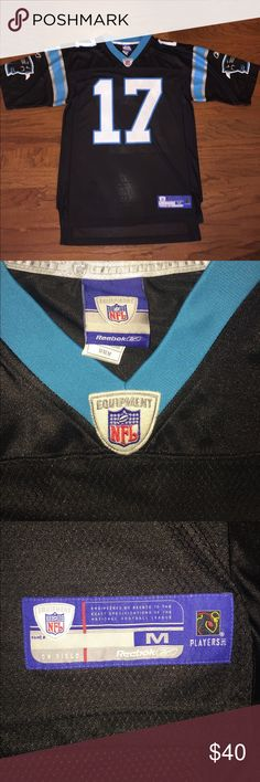 """Reebok Jake Delhomme Equipment Jersey Great condition, gently worn, black away jersey with Carolina Panthers logo on both sleeves, player number across the front, play name and number across the back, 100% polyester, men's size medium, measures about 22"""" pit to pit and  34"""" top to back tail of shirt, great quality Jersey... love the Panthers team colors! Reebok Shirts"""