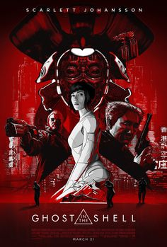 Am not fond of this new reddish poster of Ghost in the Shell, the upcoming live-action action science-fiction movie starring Scarlett Johansson: Science Fiction, Movie Poster Art, New Poster, 3d Kino, Cyberpunk, Guerrero Ninja, Alex Pardee, Kunst Poster, Alternative Movie Posters