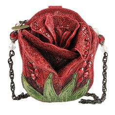 Mary Frances Rose Bud Red Flower Handbag New Mary Frances Purses, Mary Frances Handbags, Beaded Purses, Beaded Bags, Fall Handbags, Purses And Handbags, Novelty Handbags, Novelty Bags, Straw Handbags