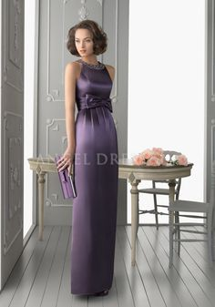 Floor Length Satin Sheath/ Column Jewel Neck Empire Waist Evening Dress With Sash/ Ribbon