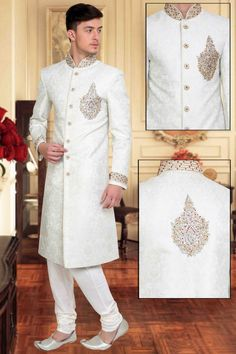 501462 White and Off White color family Sherwani in Silk fabric with Stone, Patch, Lace work. Groom Wedding Dress, Groom Dress, Wedding Suits, Sherwani For Men Wedding, Sherwani Groom, Indian Men Fashion, Groom Fashion, Moda India, Christian Bridal Saree