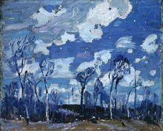 Tom Thomson (Canadian Nocturne: The Birches 1916 oil on wood panel x cm Ottawa National Gallery of Canada Emily Carr, Canadian Painters, Canadian Artists, Nocturne, Landscape Art, Landscape Paintings, Small Paintings, Abstract Paintings, Group Of Seven Paintings