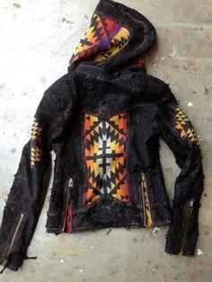 Pendleton Indian Blanket and Leather Hoodie Moto by KiyoteofBigSur, $600.00