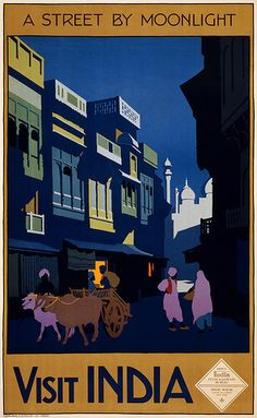 Visit India, a street by moonlight, travel poster, ca. 1920