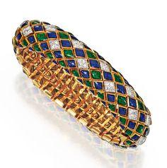 Lot 22 - 18 Karat Gold, Platinum, Enamel and Diamond Bracelet, David Webb