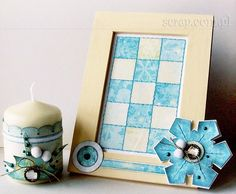 Zimowy komplet upominkowy ozdobiony ćwiekami Latarnia Morska Candle Sconces, Wall Lights, Scrapbook, Candles, Winter, Frame, Home Decor, Winter Time, Picture Frame
