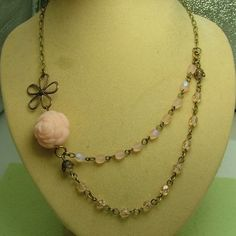Romance: Vintage style asymmetric necklace  £15.00