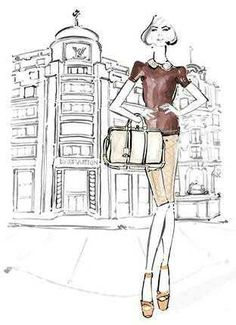 Fashion illustrator kerrie hess for LV ready to wear