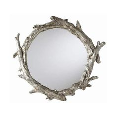 Arteriors 9655 Oakley 31 Inch Circular Resin Framed Mirror Antique (1,055 CAD) ❤ liked on Polyvore featuring home, home decor, mirrors, antique silver, inspirational home decor, arteriors, wall mounted mirror, framed mirrors and branch mirror