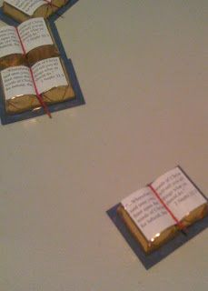 Chocolate Scriptures/book using 2 Hershey's nuggets