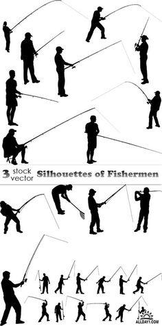 Vectors - Silhouettes of Fishermen