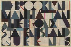 'Dark Island' drawing of NYC boroughs by Denver-based artist Evan Hecox. via visual therapy Creative Typography, Typographic Design, Graphic Design Typography, Illustration Design Graphique, Graphic Illustration, Inspiration Typographie, Vintage Newspaper, Newspaper Printing, Monogram