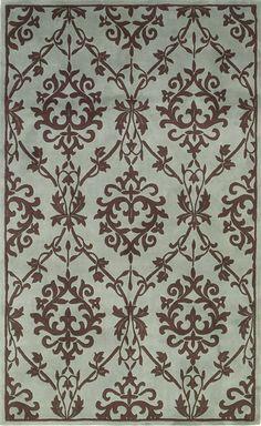 Cau Wedgewood Mocha Sofia Contemporary Blue And Brown Damask Hand Tufted Wool Rug Kas Oriental