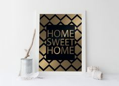 HOME SWEET HOME print,printable art,home sweet home print,printable art home sweet home art,prints and quotes,gold print,instant download von sweetandhoneyprints auf Etsy