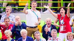 """Kronprinsen Frederik: 2016.08.21 Crown Prince Frederik during the Olympic's Men's Handball finale, between Denmark and France. Denmark won the match 28-26 and therefore Olympian Gold. He clapped, roared and cheered down to the field to the amazing handball players. """"It is as unique as it can be! It's handball in absolute Olympic class. It's a great finale,"""" said a very proud Crown Prince Frederik to TV 2."""