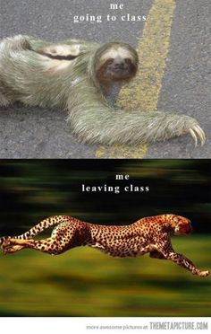 Going to class vs. Leaving class.