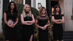 Spencer Hastings, Aria Montgomery, Hanna Marin, and Emily Fields in <em>Pretty Little Liars</em>