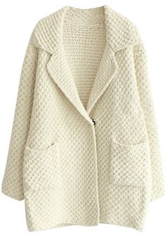 Oversized Beige Sweater Cardigan - Twin Pockets At Front