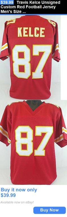 Sports Memorabilia: Travis Kelce Unsigned Custom Red Football Jersey Mens Size 2Xl BUY IT NOW ONLY: $39.99