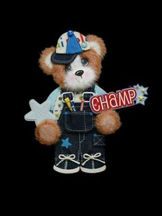 MOMZ Little Champ Boy Baby Tear Bear Paper Piecing Premade Scrapbook Page Album