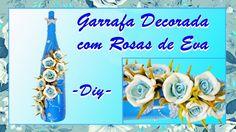 GARRAFA AZUL COM ROSAS DE EVA  - PASSO A PASSO