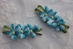 4 pc TEAL BLUE Ombre Ribbon Daisy Flower Applique Baby Dog Bow Applique