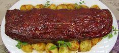 O reteta delicioasa de rulada de carne tocata umpluta cu oua fierte si acoperita cu un strat de glazuradulce-picanta. Steak, Food And Drinks, Steaks