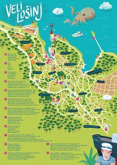 Veli Losinj folding map on Illustration Served