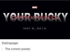 "Grammic error is killing me but I still love it<--- there isn't any error. It's ""your Bucky"" as in ""Steve's Bucky"""