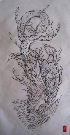 phoenix_tattoo_flash.jpg 550×1,060 pixels