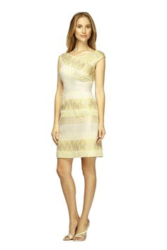 Kay Unger BEADED STRIPE COCKTAIL Striped jacquard mixed media cocktail dress with beading detail Click to Shop
