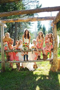 bridal party pictures - coral bridesmaids dresses #country #cowboyboots