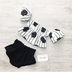 Baby girl set summer outfit black white off the shoulder top shorts set vintage outfit baby girl outfit toddler set baby girl gift Summer Style White Girl Outfits, Cute Baby Girl Outfits, Trendy Baby Clothes, Girls Summer Outfits, Organic Baby Clothes, Baby Girl Gifts, Toddler Outfits, Kids Outfits, Baby Girls