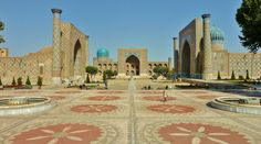 "Registan Square,was the official center of ancient Samarkand, place of royal proclamations & executions, Uzbekistan The name means ""Sandy Place"". Ensemble of 3 Madrasahs (islamic schools): Ulugbek Madrasah (1417-20), Dor Madrasah (1619-36) & Tillya Kori Madrasah (1646-60.) Astrogeo pos.: both coordinates located between fire sign Sagittarius sign of style, design, ornamentation, priests, domes & solid, strict Capricorn sign of govt. + institutions,heirarchy, rulership, administration…"