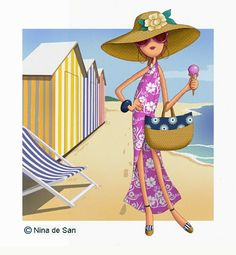 Ilustraciones Nina on the beach.