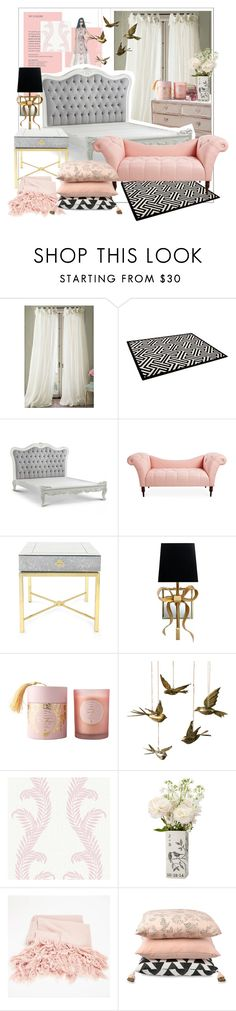"""Rose Quartz Bedroom Inspiration"" by huichinlu ❤ liked on Polyvore featuring interior, interiors, interior design, home, home decor, interior decorating, Jonathan Adler, Kate Spade, Dot & Bo and Graham & Brown"