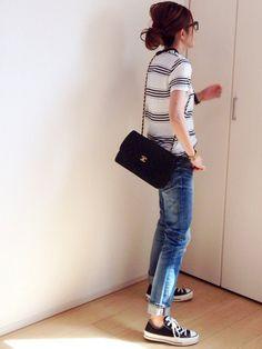 mayumiさんのTシャツ/カットソー「Deuxieme Classe ROLLAS モノトーンボーダーTee◇」を使ったコーディネート