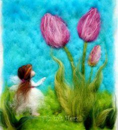 Frühlings- Wollbilder - handgefertigte Bilder aus Merinowolle Filz mit Herz filzmitherz