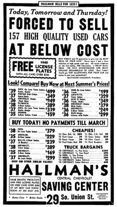Hallman's Chevrolet Used Car Lots, Rochester New York, Vintage Advertisements, Chevrolet, Advertising, Memories, Things To Sell, Awesome, Memoirs