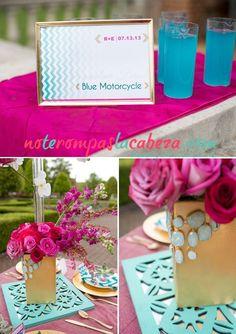 Combinación #turquesa con #rosa #boda #wedding #teal