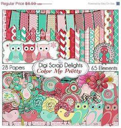 SALE 40% Off Owl Clip Art / Bird Digital Scrapbook Kit in Pink Red Cards, Invites, Digital Scrapbooking, Instant Download